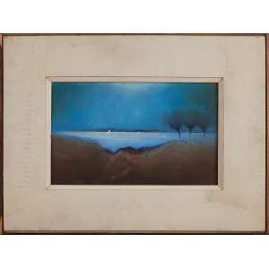 FERNANDO COELHO, Paisagem de Arembepe - Óleo sobre tela - 25x40 cm - ACID e VERSO 1972 ( Com selo da Galeria Tema Arte Contemporânea )