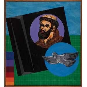 FERNANDO DURÃO, São Francisco - Acrílica sobre tela - 100x90 cm - ACID e VERSO 1987 ( Com selo da Galeria Tema Arte Contemporânea )