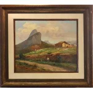 ANGELO BIGI, Paisagem Rural - óleo sobre eucatex - 50x60 cm - ACID (Coleção do Professor e Dr. Luiz Fernando da Costa e Silva) <br />