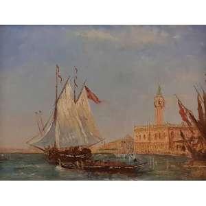 FÉLIX-FRANÇOIS PHILIBERT ZIEM - Pintor francês (1821/1911) - da famosa Escola de Barbizon. Estudou na Escola de Belas artes de Dijon, tendo pintado paisagens e retratos, e muitas locações cênicas de Veneza (onde morou), bem como da Turquia e Egito.Cavaleiro da Legião de Honra. =Marinha Veneziana - óleo sobre tela - 40x53 cm - ACID (Coleção do Professor e Dr. Luiz Fernando da Costa e Silva) <br />