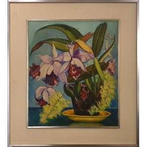 HENRIQUE CAVALLEIRO, Orquídeas - óleo sobre tela - 55x46 cm - ACID (Coleção do Professor e Dr. Luiz Fernando da Costa e Silva) <br />