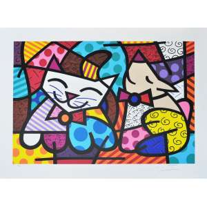 ROMERO BRITTO, Happy Cat - Gravura numerada - 50 x 70 cm - ACID