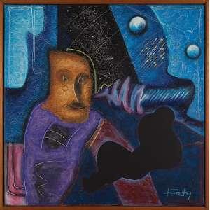 OSWALDO FORTY, Metafísica dourada - Óleo sobre tela - 80x80 cm - ACID e VERSO 1986 ( Com selo da Galeria Tema Arte Contemporânea )