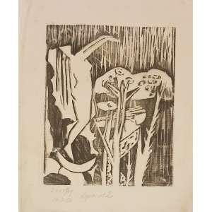 DOROTHY CRUZ, Composição - Xilogravura em papel de seda copia número 2 - 30x23 cm - Assinado no canto esquerdo. Março de 1957
