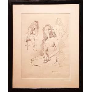 V. CAMPANELLA, Mulheres - Desenho - 48x33 cm - Assinado no canto direito