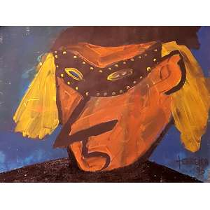 Ferreira, Fantasiado - Óleo sobre papel - 29x49 cm - Assinado no canto direito 1988