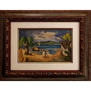 ANTONIO GOMIDE, Praia com casal - Óleo sobre tela - 31x49 cm Assinado no canto direito (Com documento)