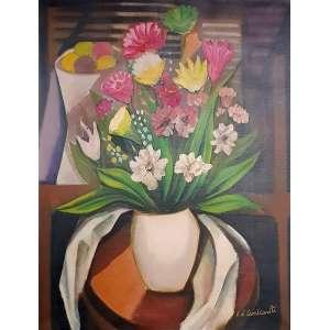E. DI CAVALCANTI, Vaso com flores - Óleo sobre tela - 65x54 cm - ACIDe VERSO