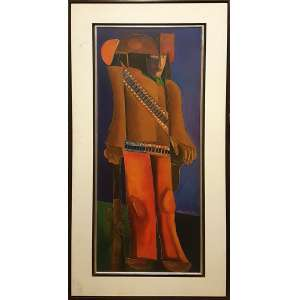 ALDEMIR MARTINS, Cangaceiro - Acrílica sobre tela - 100x40 cm - Assinado no canto direito e verso 2000