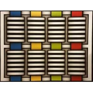 RAMIRO PETRELY, Composição - Acrílica sobre tela - 92x120 cm - Assinado no VERSO