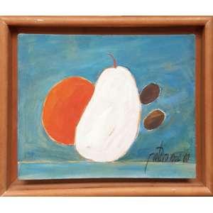 <br /><br />GUSTAVO ROSA, Frutas - Óleo sobre tela - 24x30 cm - Assinado no canto esquerdo 1980 (Com selo da Galeria Tema Arte contemporânea)