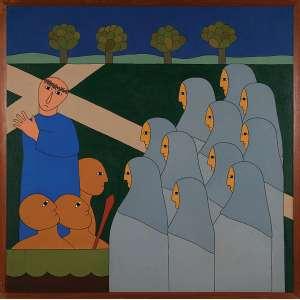 ANTONIO MAIA, Jesus consola as filhas de Jerusalém - Acrílica sobre tela - 100x100 cm - Assinada no VERSO