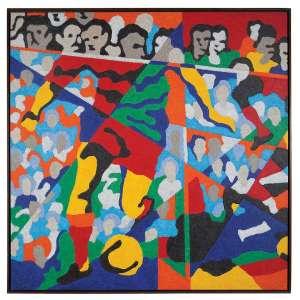 CLÁUDIO TOZZI - Futebol - Acrílica sobre tela - 200 x 200 CM - Assinatura canto inferior direito e VERSO 2006 (Acompanha documento de Autenticidade)