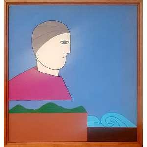 ANTONIO MAIA, Amuleto 041 - Acrílica sobre tela - 40x40 cm - ACIE e VERSO 1987 ( Com selo da Galeria Tema Arte Contemporânea )