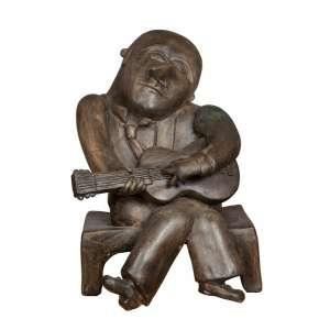 INOS CORRADIN, Violeiro - Escultura em terra cota - 52 x 36 x 36 CM - Peça Assinada