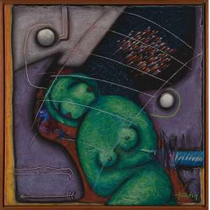 OSWALDO FORTY, Porta da dimensão - Óleo sobre tela - 80x80 cm - ACID e Verso 1986 ( com selo da Galeria Tema Arte Contemporânea )