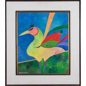 ALDEMIR MARTINS - Pássaro - Acrílica Sobre Tela - 50 x 60 CM - Assinatura canto inferior esquerdo