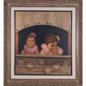 MÁRIO GRUBER - Meninas - Óleo sobre tela - 90 x 80 CM - Assinatura canto inferior direito - 1994