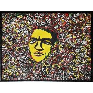 RUBENS GERCHMAN - Sozinho Na Multidão - Óleo Sobre Tela Colado Sobre Madeira - 120 x 160 CM - Assinatura canto inferior direito