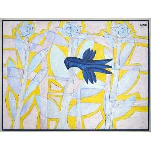RENOT - Pássaro Azul e o Recôncavo - Óleo sobre tela - 120 x 100 CM - Assinatura canto superior direito - 1999