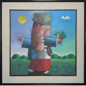 INOS CORRADIN - Homem com Papagaio - Óleo sobre tela - 80 x 80 CM - Assinatura canto inferior direito / Assinatura no verso