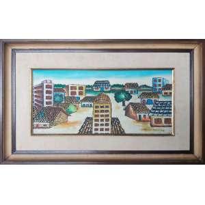 MANOEL MARTINS - Cidade - Óleo sobre placa - 25 x 50 CM - Assinatura canto inferior direito