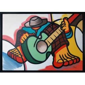 DINEY F - Figuras - Acrílica sobre tela - 70 x 100 CM- Assinatura canto inferior direito