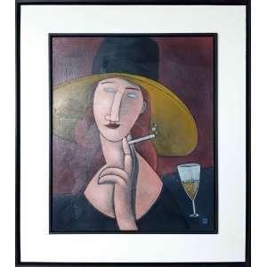 CLAYTON DA SILVA - Drink no café de la Rotonde, 1917 Paris - Óleo sobre tela - 60 x 50 CM - Assinatura canto inferior direito - Homenagem ao mestre Modigliani