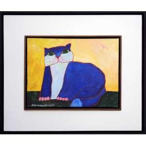 ALDEMIR MARTINS - Gato Azul - Acrílica sobre tela - 30 x 40 CM - Assinatura canto inferior esquerdo (Acompanha certificado de autenticidade)