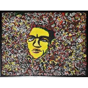 RUBENS GERCHMAN, Sozinho na multidão - Óleo sobre tela colado sobre madeira - 120 x 160 CM - ACID (Com documento do JAMES lISBOA)