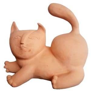 INOS CORRADIN, Gato - Escultura em terra cota - 30x23x20 cm - Peça Assinada