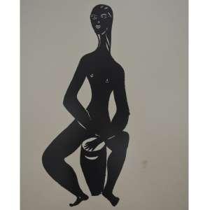 Di Cavalcanti -Figura Com atabaque tam 74 x 61 Serigrafia