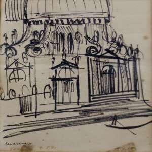 Emeric Marcier - Veneza - Desenho -Tam 20 x 15 - ano 1954