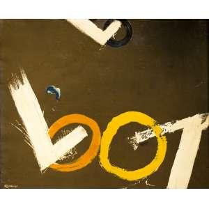 Yasuichi Kojima - Titulo Composição pincelado - Ano 1934 - tam. 0,60 x 0,73 cm - oleo sobre tela