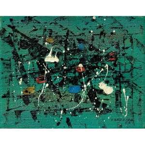 Antonio Bandeira<br>Sem título<br>óleo sobre tela<br>14 x 18 cm<br>assinada canto inferior direito e verso - Paris<br>1957<br>Com dedicatória no verso.