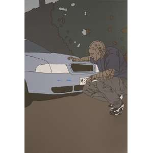Gareth Morgan - Scratched Car: Homem agachado olhando frente de um carro. Acrílico sobre aglomerado. Montada em chassi, sem moldura. Dimensões: 90 x 62 cm.