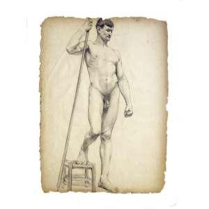 Dario Brabosa - Nu: Crayon sobre papel de homem nu, punho esquerdo fechado e mão direita na altura da cabeça segurando uma vara. Inscrito no c.s.d. ?2-03 Paris?. Dimensões 63 x 48 cm.