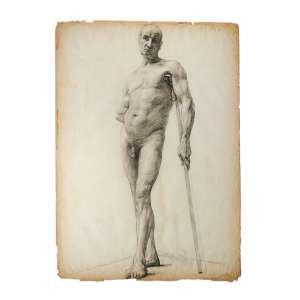 Dario Barbosa - Nu: Crayon sobre papel de homem nu frontal, se apoiando sobre vara conforme os usados nas escolas de desenho e pintura na virada do século XIX para XX. Dimensões 65 x 50 cm.