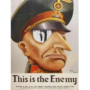 Koethler, Karl & Ancona - This is The Enemy: Rosto de militar com quepe nazista e nariz pontiagudo. Técnica mista. Dimensões: 90 x 63 cm.
