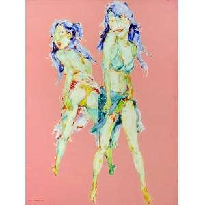 Na, Shen - Left and Right Hand: 2(Duas) adolescentes de biquini, uma de frente e outra de costas olhando para trás, cabelos azuis e traços orientais, sobre fundo rosa. Assinado e datado no c.i.e. SHEN. Na. 2003. Óleo sobre tela. Dimensões: 200 x 150 cm.