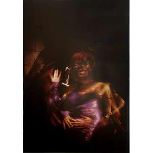 Ruddy Candillon - Traveshiva: Travesti negro com cabelos loiros, à direita do observador, em fundo escuro. Dimensões 61 x 42,5 cm. Autor: Candillon, Ruddy.