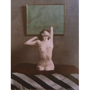 Fuyuki Hattori - Nude on Striped Cloth V: Nu feminino sobre tecido listrado, com braços e cabeça para trás. Assinatura do autor na imagem, à tinta; sem tiragem. Dimensões 54 x 41,5 cm. Autor: Hattori, Fuyuki.