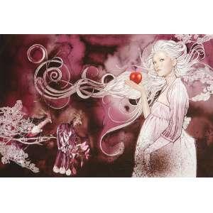 Eve: Figura Feminina de perfil, segurando uma maçã na mão direita, grávida e com cabelos brancos esvoaçantes sobre fundo abstrato em tons rosa escuro. Certificado de autenticidade no verso, com assinatura do autor e data. Tiragem 1/10. Autor: Jacobs, Irene. DImensões 53 x 83 cm.