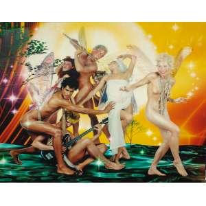 Micha Klein - The Session: Foto colorida de pessoas nuas e com asas, como numa festa, com um flautista ao centro, no fundo sobre chão em tons de verde. Assinatura do autor no verso e datado. Dimensões 180 x 210 cm.