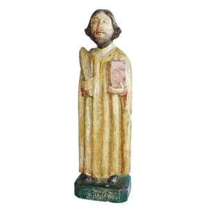 São Romão: Figura em madeira, masculina, com vestes de cor clara, segurando palma na mão esquerda e livro na mão direita, sobre base com inscrição São Romão. Provavelmente Espanha, século XVIII. Dimensões 61 cm.