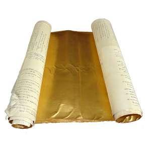 Folhas de Ouro para Harimaze: Sete folhas de ouro coladas em fragmentos de papel de arroz ou de tecido, com inscrições em japonês no verso. Identificado como folhas para harimaze, desenhos independentes em folhas únicas, dimensões varáveis.
