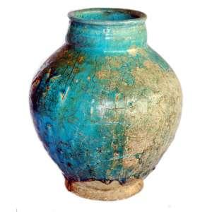 Vaso porcelana azul e dourado: Vaso, Faiança vitrificada em azul turquesa, com incisões ornamentais, norte do Irã, século XIV/XV, dimensões 25cm.