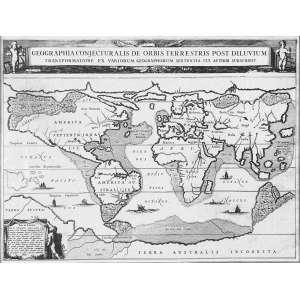 Athanasius Kircher - Geographia Conjecturalis de Orbis Terrestris Post Diluvium: Nome do mapa na parte superior, separado do conteúdo. Dimensões 33 x 47 cm. Autor: Kircher, Athanasius.