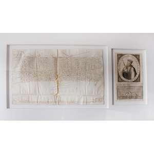Carta e retrato de D. João III de Portugal: Emoldurado com dois itens: [1] 02 páginas (como livro aberto) com texto até metade de ambas, escrita de 02 linhas no rodapé. (30 x 46 cm) [2] Retrato do Rei coroado, carregando cetro. Ao redor inscrição Joannes Port. Rex XV Vixit Ann LV Obiit Ao. M.D.L. VII. Abaixo, penhasco de 05 picos com uma cruz. (27 x 15 cm)