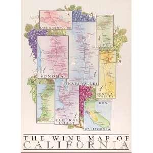 The Wine Map of California: Cartaz Emoldurado contendo os mapas e regiões de vinhedos no Estado da California nos EUA. Dimensões 81 x 57 cm